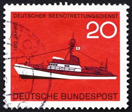rescue service: GERMANY - CIRCA 1965: a stamp printed in the Germany shows Rescue Ship, Centenary of German Sea Rescue Service, circa 1965 Editorial
