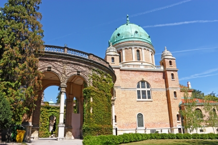 The main entrance to Mirogoj cemetery and Church of Christ the King, Zagreb, Croatia photo
