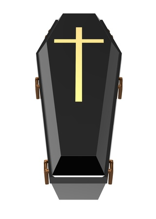 Black coffin, isolated on white, 3d render photo