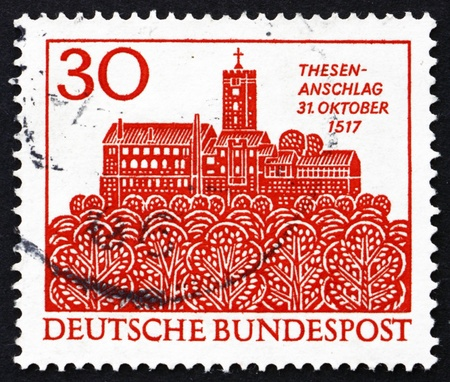 reformation: GERMANY - CIRCA 1967: a stamp printed in the Germany shows The Wartburg, Eisenach, 450th Anniversary of the Reformation, circa 1967 Editorial