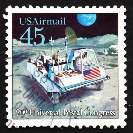UNITED STATES OF AMERICA - CIRCA 1989: a stamp printed in the USA shows Moon Rover, Futuristic Mail Delivery, circa 1989