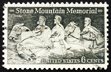 USA - CIRCA 1970: a stamp printed in the USA shows Stone Mountain Confederate Memorial, Robert E. Lee, Jefferson Davis & Stonewall Jackson, circa 1970