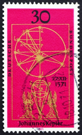 johannes: GERMANY - CIRCA 1971: a stamp printed in the Germany shows Johannes Kepler, Astronomer, Illustration from New Astronomy by Kepler, circa 1971 Editorial