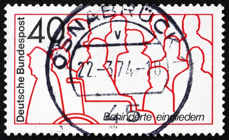 GERMANY - CIRCA 1974: a stamp printed in the Germany shows Handicapped People, Rehabilitation of the Handicapped, circa 1974