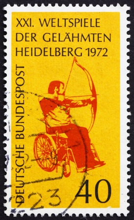 GERMANY - CIRCA 1972: a stamp printed in the Germany shows Archer in Wheelchair, 21st Stoke-Mandeville Games for the Paralyzed, Heidelberg, circa 1972