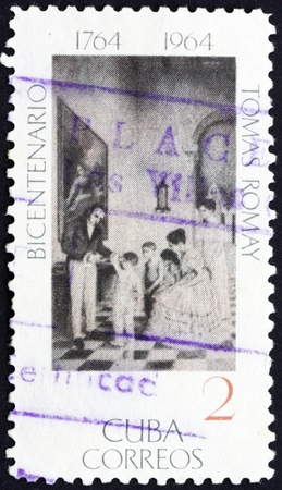 smallpox: CUBA - CIRCA 1964: a stamp printed in the Cuba shows First Vaccination against Smallpox, Dr. Tomas Romay, Physician and Scientist, circa 1964 Editorial