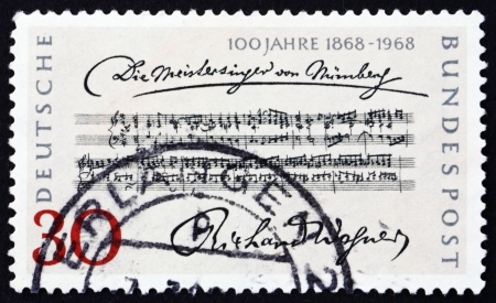 wagner: GERMANY - CIRCA 1968: a stamp printed in the Germany shows Opening Bars, Die Meistersinger von Nurnberg by Richard Wagner, Centenary of the 1st Performance, circa 1968