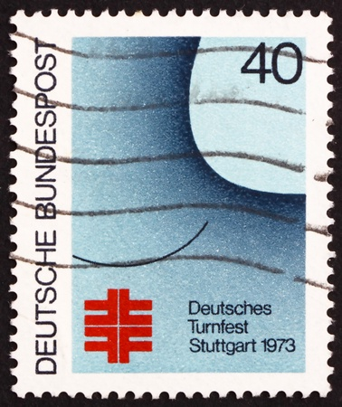 GERMANY - CIRCA 1973: a stamp printed in the Germany shows Festival Poster, German Turner Festival, Stuttgart, circa 1973 Stock Photo - 15546853
