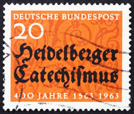 theology: GERMANY - CIRCA 1963: a stamp printed in the Germany shows Heidelberg Catechism, 400th Anniversary, Containing the Doctrine of the Reformed Church, circa 1963