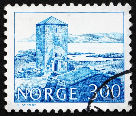 NORWAY - CIRCA 1982: a stamp printed in the Norway shows Selje Monastery, 11th Century, Norway, circa 1982 Editorial