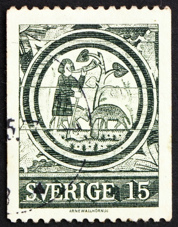 13th century: SWEDEN - CIRCA 1971: a stamp printed in the Sweden shows The Prodigal Son, 13th Century, Rada Church, circa 1971