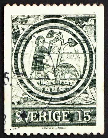 rada: SWEDEN - CIRCA 1971: a stamp printed in the Sweden shows The Prodigal Son, 13th Century, Rada Church, circa 1971