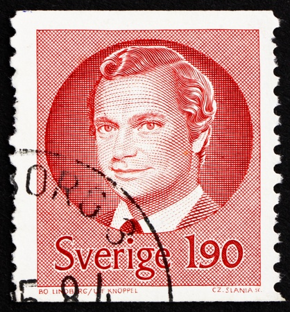 SWEDEN - CIRCA 1984: a stamp printed in the Sweden shows Carl XVI Gustaf, King of Sweden, circa 1984 Stock Photo - 15740651