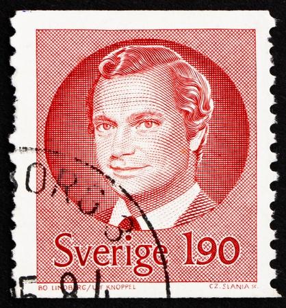 king carl xvi gustaf: SWEDEN - CIRCA 1984: a stamp printed in the Sweden shows Carl XVI Gustaf, King of Sweden, circa 1984