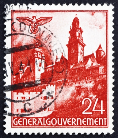 POLAND - CIRCA 1940: a stamp printed in the Poland under German Occupation shows Wawel Castle, Cracow, circa 1940 Stock Photo - 15740485