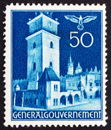 POLAND - CIRCA 1940: a stamp printed in the Poland under German Occupation shows Court House, Cracow, circa 1940 Stock Photo - 15837370
