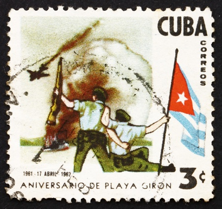 CUBA - CIRCA 1962: a stamp printed in the Cuba shows Bay of Pigs Invasion, 1st Anniversary, circa 1962