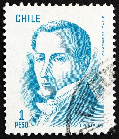 CHILE - CIRCA 1975: a stamp printed in the Chile shows Diego Portales, Statesman, Finance Minister, circa 1975 Stock Photo - 15850090