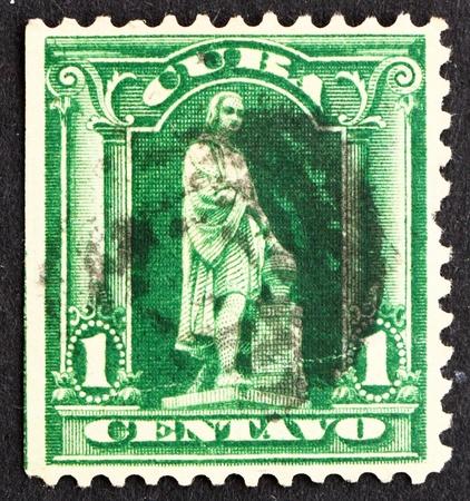 colonizer: CUBA - CIRCA 1899: a stamp printed in the Cuba shows Statue of Christopher Columbus, Explorer, circa 1899