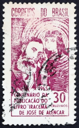 BRAZIL - CIRCA 1965: a stamp printed in the Brazil shows Jose de Alencar and Indian Princess, Centenary of the Publication of Iracema, circa 1965 Stock Photo - 15850093