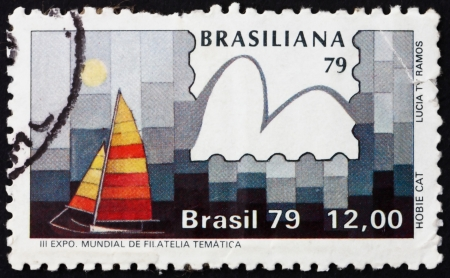 hobie: BRAZIL - CIRCA 1979: a stamp printed in the Brazil shows Hobie Cat Class, Yachts and Stamps, Brasiliana �79, 3rd World Thematic Stamp Exhibition, Sao Conrado, circa 1979 Editorial