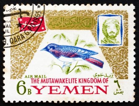 mohammed: YEMEN - CIRCA 1965: a stamp printed in the Yemen shows Cinnyricinclus Leucogaster, Bird, Portrait of Imam Mohammed al-Badr, circa 1965