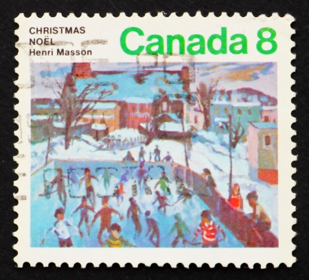 henri: CANADA - CIRCA 1974: a stamp printed in the Canada shows Skaters at Hull, Painting by Henri Masson, Christmas, circa 1974
