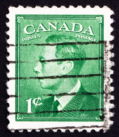vi: CANADA - CIRCA 1949 a stamp printed in the Canada shows King George VI, King of England, circa 1949 Editorial