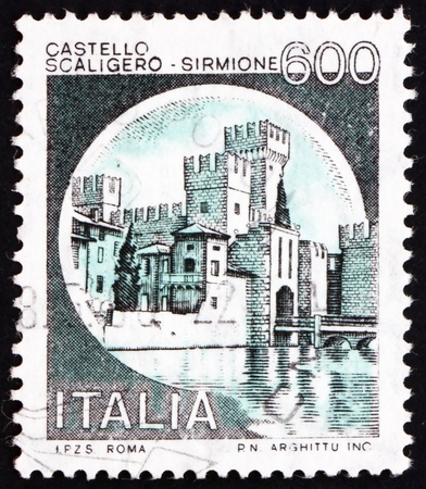sirmione: ITALY - CIRCA 1980: a stamp printed in the Italy shows Castle Scaligero, Sirmione, circa 1980