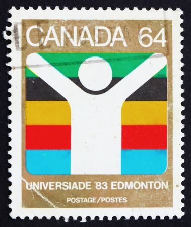 canada stamp: CANADA - CIRCA 1983: a stamp printed in the Canada shows World University Games, Edmonton, circa 1983 Editorial