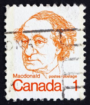 CANADA - CIRCA 1973: a stamp printed in the Canada shows Sir John A. Macdonald, circa 1973 Stock Photo - 16093769