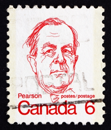CANADA - CIRCA 1973: a stamp printed in the Canada shows Lester B. Pearson, circa 1973 Stock Photo - 16093768