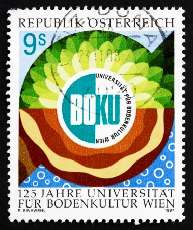 AUSTRIA - CIRCA 1997: a stamp printed in the Austria shows Vienna Agricultural University, 125th Anniversary, circa 1997 Stock Photo - 16093791