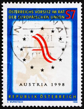presidency: AUSTRIA - CIRCA 1998: a stamp printed in the Austria shows Map of Europe and Austrian Flag, Austrian Presidency of the European Union, circa 1998