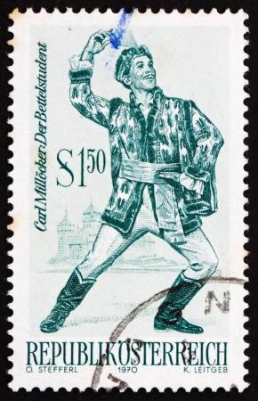 carl: AUSTRIA - CIRCA 1970: a stamp printed in the Austria shows The Beggar Student, Operetta by Carl Millocker, circa 1970
