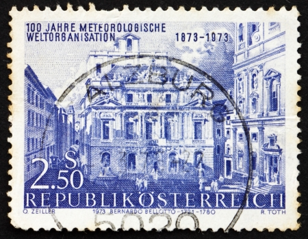 AUSTRIA - CIRCA 1973: a stamp printed in the Austria shows Academy of Science, by Canaletto, Vienna, Centenary of International Meteorological Cooperation, circa 1973 Stock Photo - 16093804