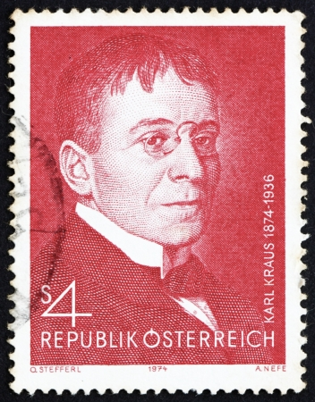 satirist: AUSTRIA - CIRCA 1974: a stamp printed in the Austria shows Karl Kraus, Poet and Satirist, circa 1974 Editorial