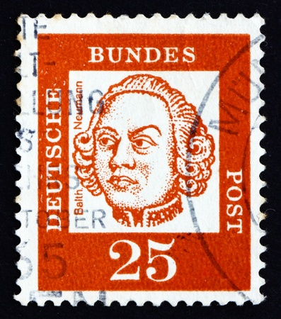balthasar: GERMANY - CIRCA 1961: a stamp printed in the Germany shows Johann Balthasar Neumann, German Baroque Architect, circa 1961
