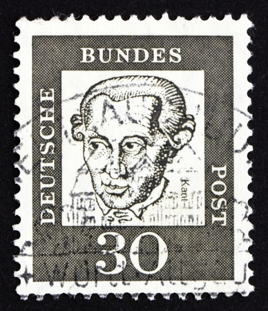 epistemology: GERMANY - CIRCA 1961: a stamp printed in the Germany shows Immanuel Kant, philosopher, circa 1961