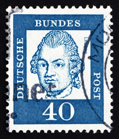 publicist: GERMANY - CIRCA 1961: a stamp printed in the Germany shows Gotthold Ephraim Lessing, writer, dramatist, circa 1961