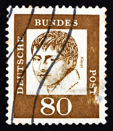 dramatist: GERMANY - CIRCA 1961: a stamp printed in the Germany shows Heinrich von Kleist, Poet, Dramatist, Novelist and Short Story Writer, circa 1961 Editorial