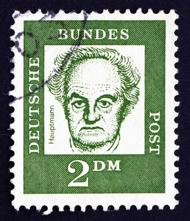 dramatist: GERMANY - CIRCA 1962: a stamp printed in the Germany shows Gerhart Hauptmann, Dramatist and Novelist, Winner of the Nobel Prize in Literature, circa 1962
