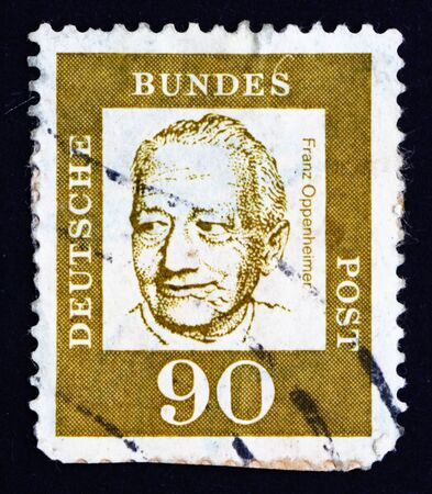 sociologist: GERMANY - CIRCA 1964: a stamp printed in the Germany shows Prof. Franz Oppenheimer, Sociologist and Economist, circa 1964