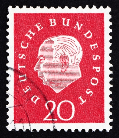 theodor: GERMANY - CIRCA 1959: a stamp printed in the Germany shows Theodor Heuss, 1st President of the Federal Republic of Germany, 1949-1959, circa 1959