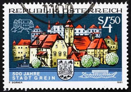 AUSTRIA - CIRCA 1991: a stamp printed in the Austria shows City of Grein, 500th Anniversary, circa 1991 Stock Photo - 16205906