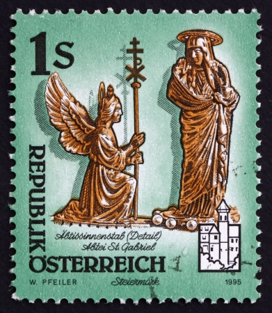 AUSTRIA - CIRCA 1995: a stamp printed in the Austria shows Detail of Abbesse's Crosier, St. Gabriel Abbey, Styria, Monastery of Admont, circa 1995 Stock Photo - 16205913