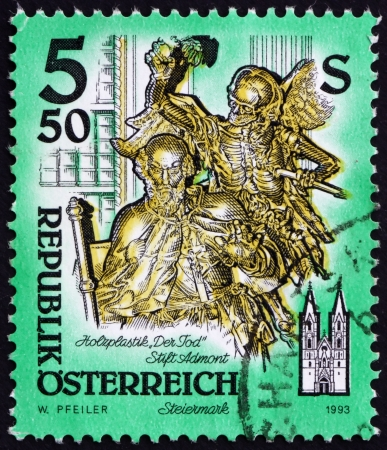 AUSTRIA - CIRCA 1993: a stamp printed in the Austria shows Death, Wooden Statue by Josef Stamel, Styria, Monastery of Admont, circa 1993 Stock Photo - 16205911