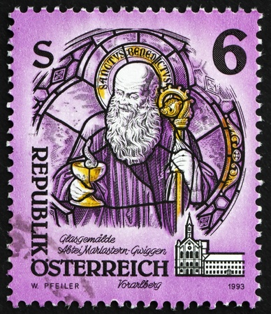 AUSTRIA - CIRCA 1993: a stamp printed in the Austria shows Stained Glass Painting, Mariastern-Gwigen Monastery, Vorarlberg, circa 1993 Stock Photo - 16205915