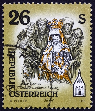 AUSTRIA - CIRCA 1995: a stamp printed in the Austria shows Sculpture of Mater Dolorosa, Franciscian Monastery, Schwaz, Tirol, circa 1995 Stock Photo - 16205912
