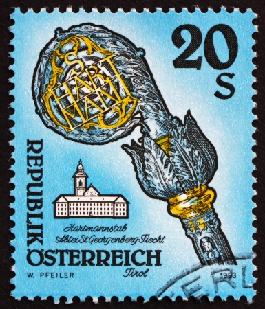 AUSTRIA - CIRCA 1993: a stamp printed in the Austria shows Crosier, Fiecht Monastery, Tirol, circa 1993 Stock Photo - 16205910